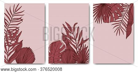 Set Poster Of Red Tropical Leaves On A Gentle Pastel Background. Abstract Trendy Template With Branc