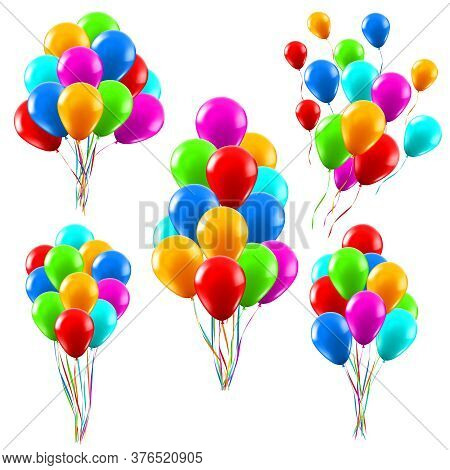Colourful Realistic Balloons. Glossy Green, Red And Blue Helium Balloons Bunches, Birthday Party Cel