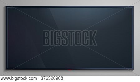 Realistic Tv Screen. Lcd Modern Blank Display, Television Monitor Screen Mockup, Lcd Panel Isolated
