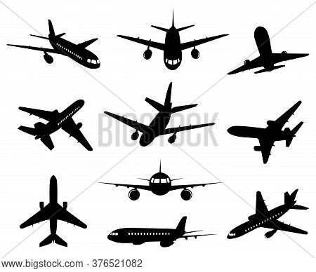 Airplane Silhouette. Passenger Plane, Back Front And Bottom Views, Aircraft Jet Silhouettes Isolated