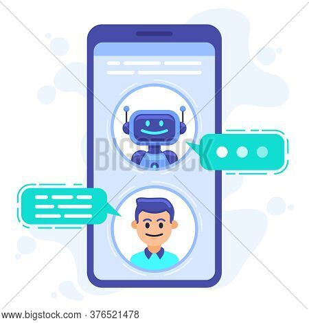 Chat Bot Communication. Smartphone Chatting With Conversation Bot, Chat Assistant Bot At Cellphone S