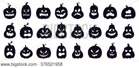 Halloween Pumpkins Silhouette. Scary Spooky Carving Pumpkins, Creepy Smiling Faces, Autumn Holiday H