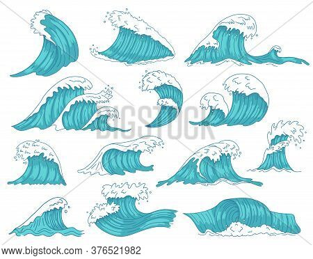 Oceanic Waves. Sea Hand Drawn Tsunami Or Storm Waves, Marine Water Shaft, Ocean Beach Surfing Waves