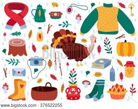 Autumn Elements. Fall Cartoon Hygge Cozy Sweater, Boots, Autumn Leaves, Mushrooms, Pumpkin And Turke