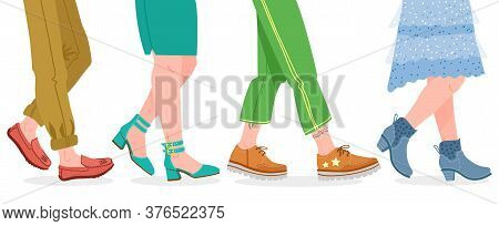Walking Boots. People Walking In Modern Shoes, Man And Woman Feet In Stylish Footwear Vector Illustr