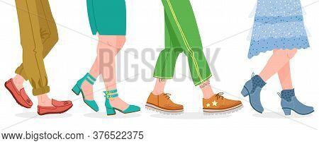 Walking Boots. People Walking In Modern Shoes, Man And Woman Feet In Stylish Footwear Vector Illustr