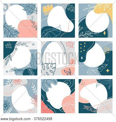 Abstract Social Post Collage. Square Trendy Social Media Post Template, Modern Abstract Marketing Po