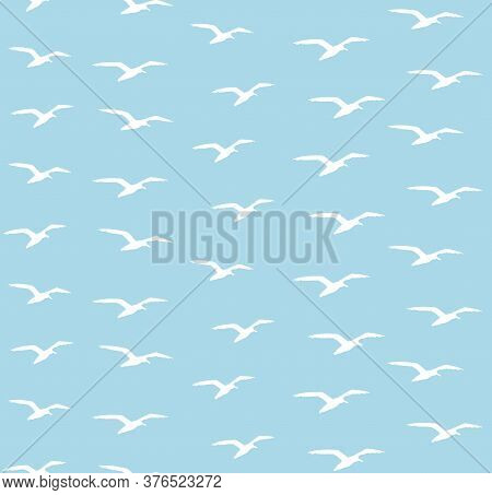 Vector Seamless Pattern Of White Hand Drawn Sketch Seagull Flock Silhouette Isolated On Blue Backgro
