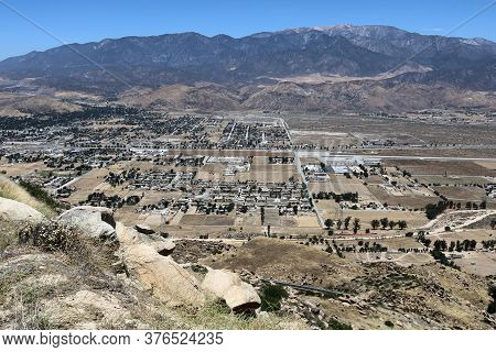 June 14, 2020 In Banning, Ca:  Town Of Banning, Ca On The Valley Floor Surrounded By Mountains As We