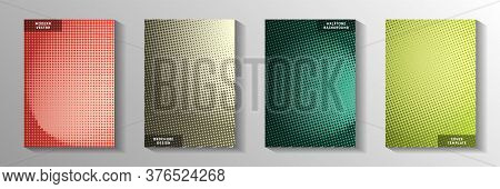 Creative Point Faded Screen Tone Title Page Templates Vector Kit. Business Magazine Perforated Scree