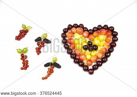 Cherry Berries Cherries In The Form Of A Heart Of Red Pink Yellow And Tassels Of Red Currant Goosebe