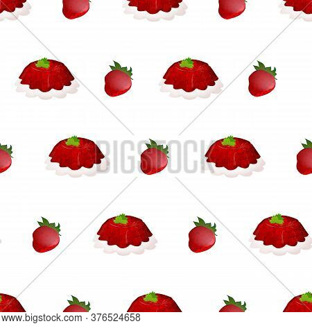 Beautiful Seamless Pattern With Many Jelly Cakes. Modern Food Design Template. Cute Tasty Strawberry