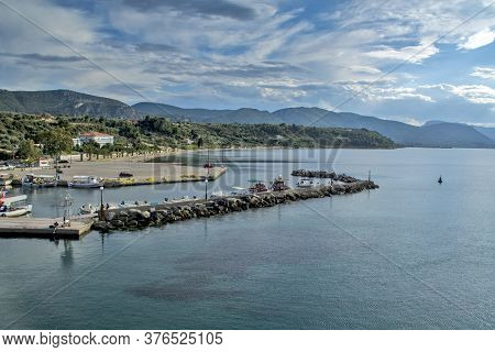 Arkitsa, Greece, Jun 04, 2016. View Of The Coast And Port From A Ship Departing From The Port.
