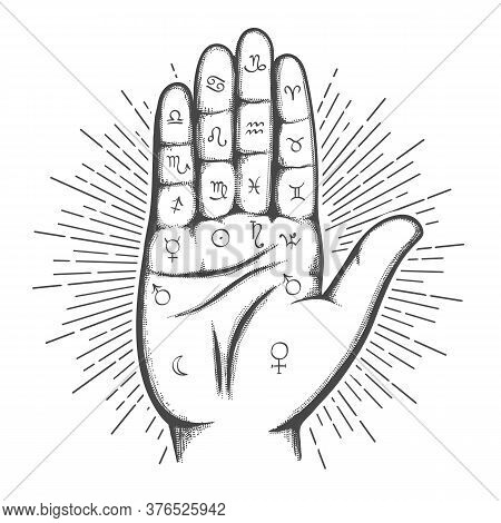 Palmistry Map On Open Palm With Astrology And Hieromancy Magic Symbols. Vector Illustration.