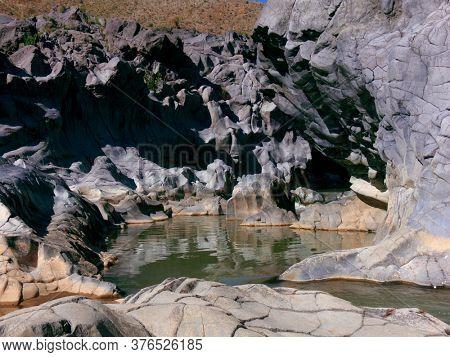 volcanic gorges along Simeto River of Sicily natural landmark