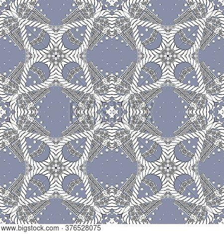 Greek Seamless Pattern. Vector Elegant Ornamental Background. Tribal Ethnic Repeat Floral Backdrop.