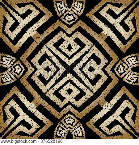 Stippled Grunge Greek Seamless Pattern. Vector Ornamental Textured Background. Tribal Ethnic Style R