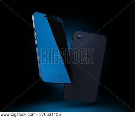 Cellphone Mockup. Mobile Phone 3d Render. Smartphone On Dark Background With Blue Backlight. Modern