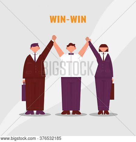 Referee Raises Two Hands Of Businessmen And Businesswoman. Win To Win. Business Situation As Boxing.