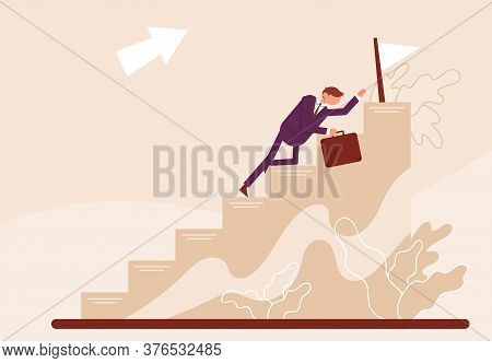 Businessman Crawls To The End On A Development Ladder. Concept Growth And The Path To Future Success