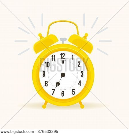 Alarm Clock Vector. Wake-up Alert Time Signal. Mechanical Wind-up Spring Alarm Clock.