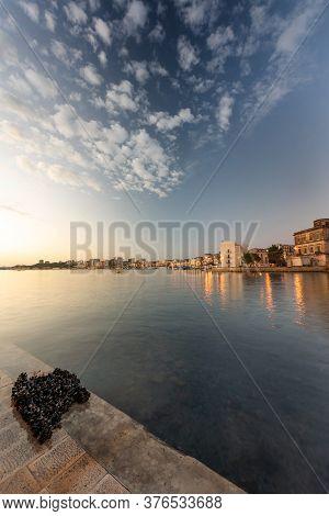 Taranto City In Sunrise Light. Italy, Puglia