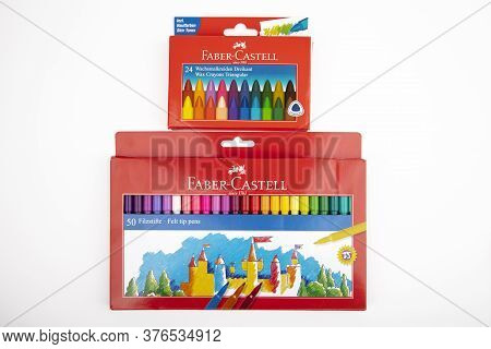 Wetzlar, Germany 2020_04_05 Faber Castell Wax Crayons And Felt Tip Pens.. Faber Castell Founded In 1