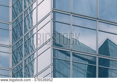 Modern Office Glass Building Texture In Light Blue Tones For Business Background, Business Center Ge