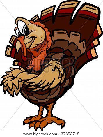 Happy Thanksgiving Holiday Turkey Cartoon Vector Illustration
