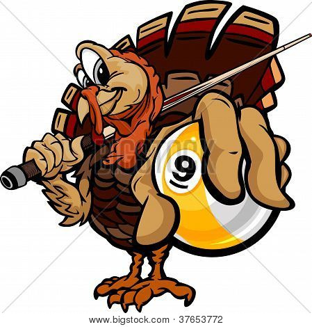 Cartoon Vector Image of a Thanksgiving Holiday Billiards or Pool Turkey Holding a Nine Ball and Pool Cue poster