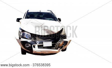 Car Crash Smash Accident On White Background