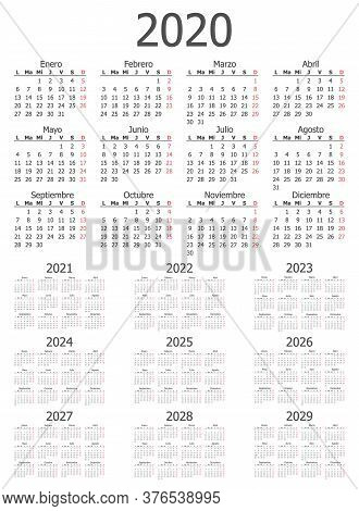 Calendar Dates By Month From 2020 Through To 2029 For Use As Design Elements, Vector Illustration