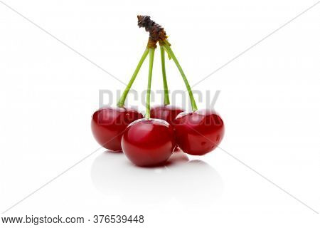 four cherries isolated on white background