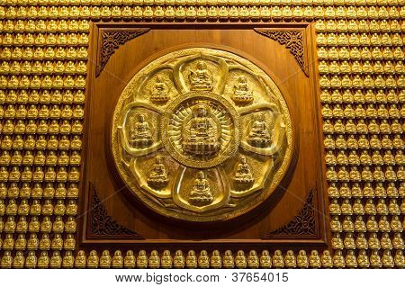 Pattern of Golden Chinese Buddha Decorated on Wall.
