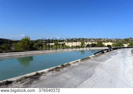Orihuela, Costa Blanca, Spain - September 21, 2018:water Channel In Orihuela Costa. Spain