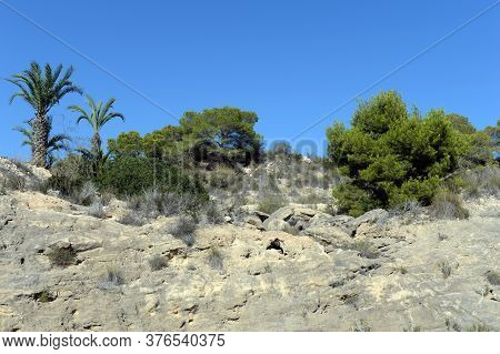 Orihuela, Costa Blanca, Spain - September 21, 2018:stone Banks In Orihuela Costa. Spain