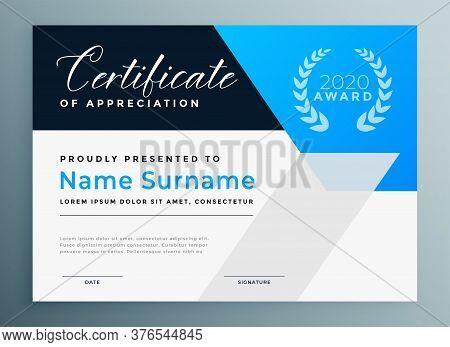Certificate Of Appreciation Blue Professional Template Design