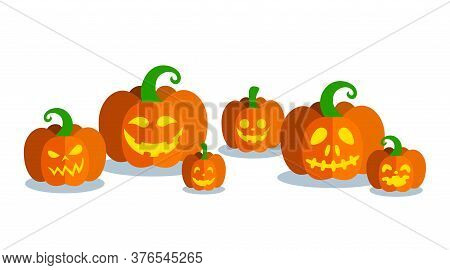 Halloween Pumpkins Of Different Forms With Carved Faces. Horizontal Banner With Pumpkins. Vector Ill