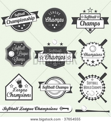 Vector Set: Vintage Softball League Champs Labels