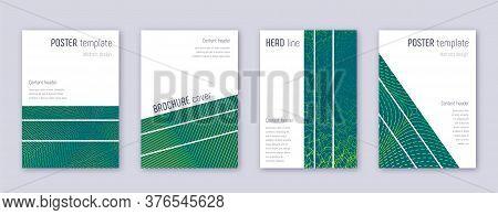 Geometric Brochure Design Template Set. Green Abstract Lines On Dark Background. Alive Brochure Desi