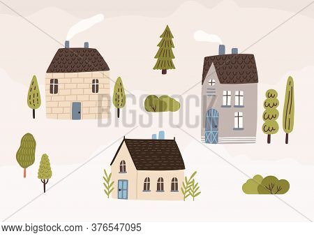 Hand Drawn Village With Houses And Trees Vector Flat Illustration. Colorful Cozy Buildings With Smok