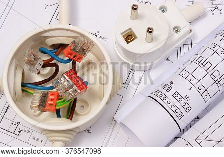 Electrical Box With Connections Of Electric Copper Wires, Plug And Housing Plan. Components Using In