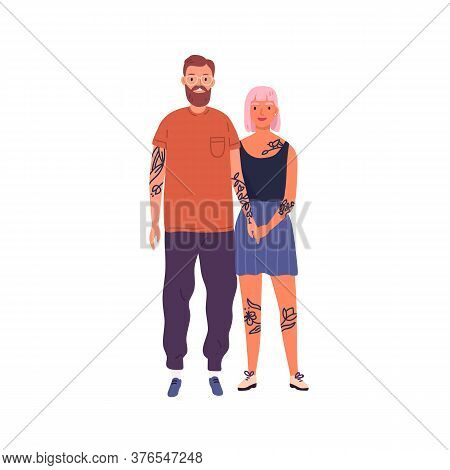 Happy Hipster Couple Posing Together Holding Hands Vector Flat Illustration. Smiling Stylish Tattooe