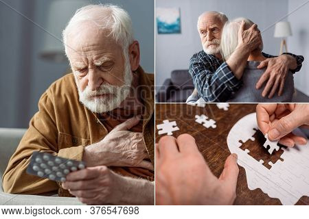 Collage Of Senior Man Feeling Bad And Holding Pills, Man Hugging Wife Sick On Dementia, And Woman Co
