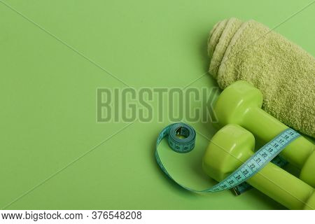 Tape Measure In Cyan Color By Lightweight Barbells, Copy Space.