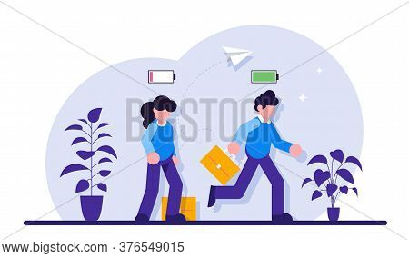 Business Concept. Cheerful Businessman Running With Full Of Energy Battery Icon And Tired Businessma