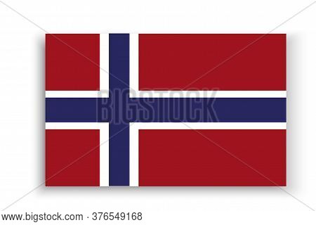 Vector Norway Flag Badge. Emblem Of Scandinavia. Illustration Of The Official Symbol Of Oslo.