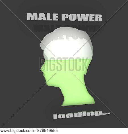The Male Power Level Measuring Indicator. 3d Rendering. Progress Or Loading Bar.