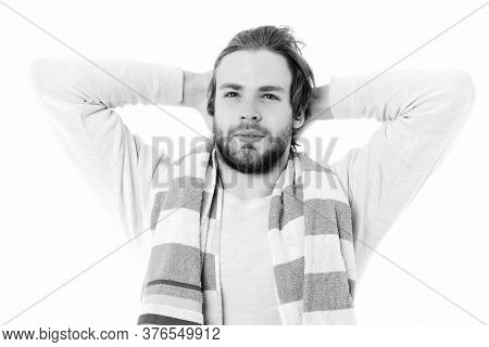 Happy Man Awake On White Background. Perfect Morning Concept
