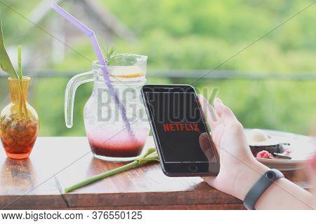 Chiang Mai, Thailand - July11, 2020 : Netflix App On Smart Phone Screen. Netflix Is An International